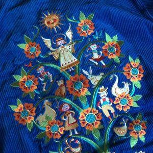 Bob Mackie Tops - Bob Mackie Embroidered Corduroy Button Up